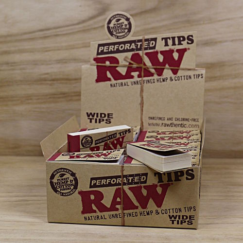 RAW Wide Filtertips, Hemp-Cotton, perf.