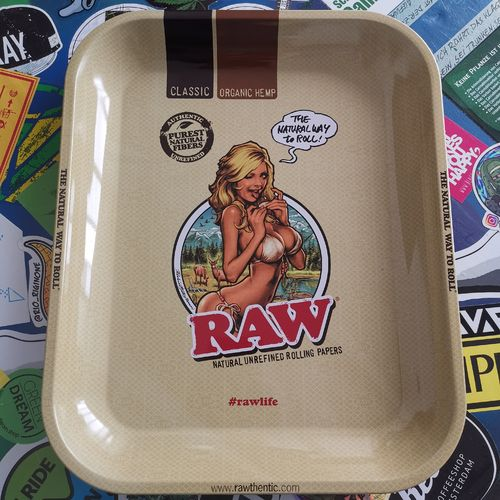 RAW Metal Rolling Tray groß, RAW Girl