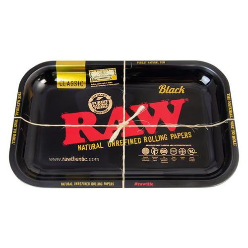 """RAW Black"" Metal Rolling Tray, small (medium)"